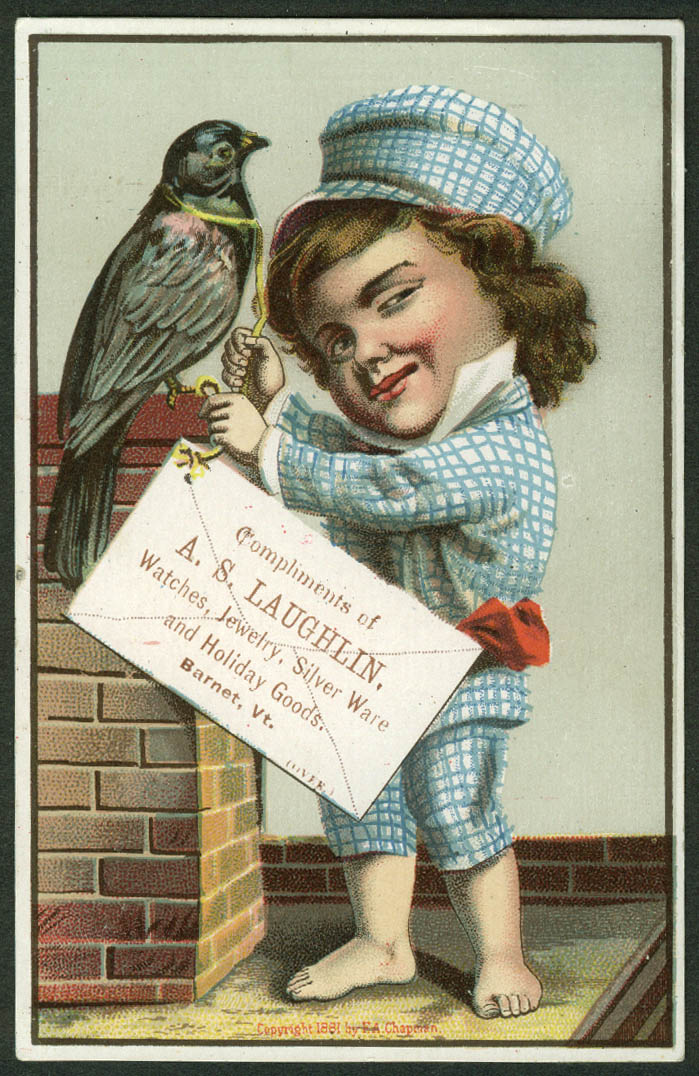 A S Laughlin Watches Jewelry Barnet VT trade card boy captive bird 1881