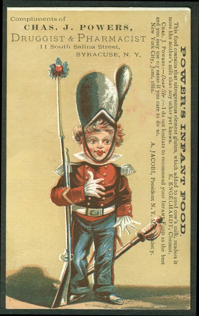 Chas J Powers Druggist Syracuse NY trade card boy soldier gun & sabre 1880s