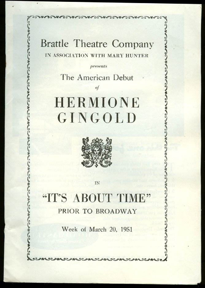 Hermione Gingold It's About Time Brattle Theatre playbill 1951 pre-Broadway