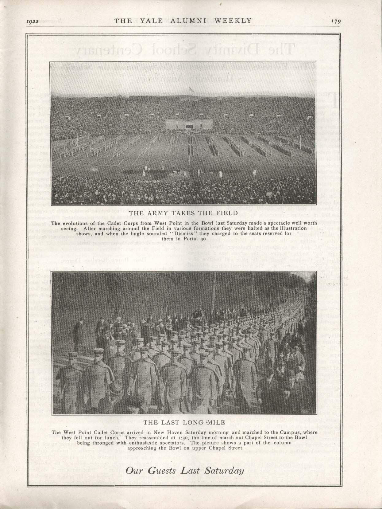 YALE ALUMNI WEEKLY Yale 7-7 West Point Army football 11/3 1922