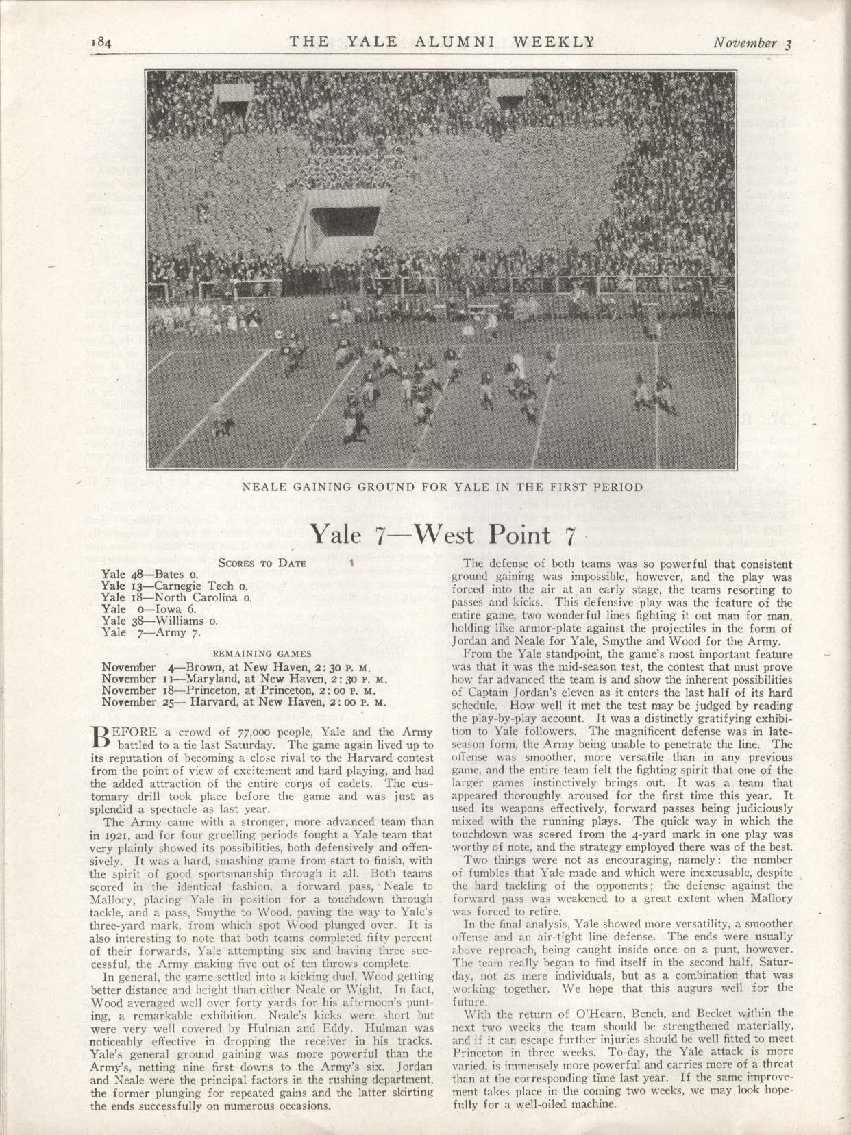YALE ALUMNI WEEKLY Yale 7-7 West Point Army football 11/3 1922