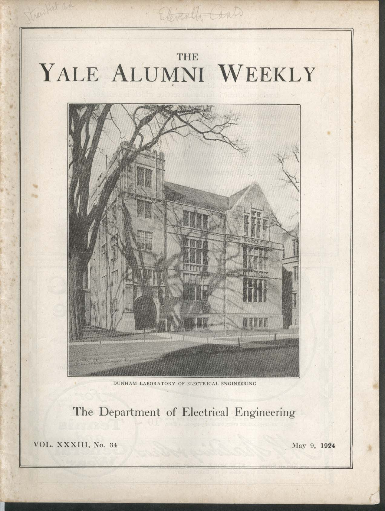 YALE ALUMNI WEEKLY Dunham Laboratory Electrical Engineers Varsity Crew 5/9 1924