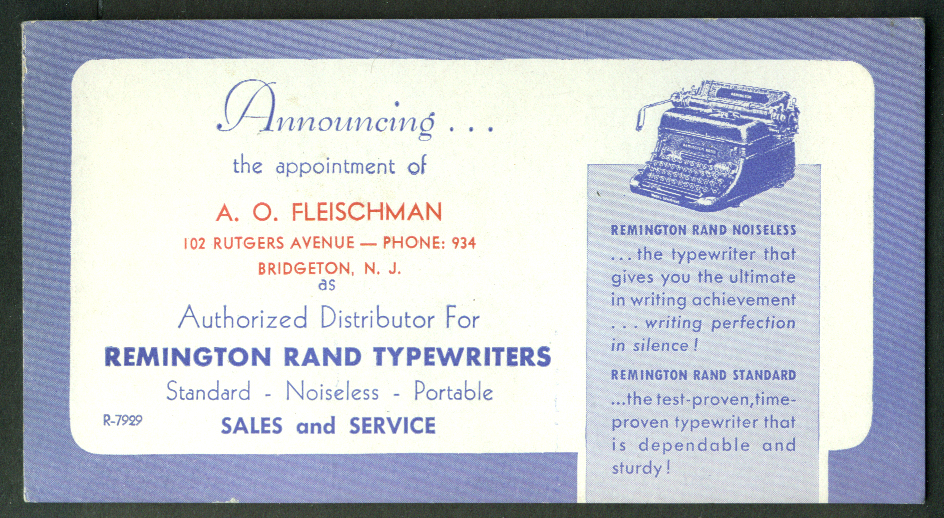 Remington Rand Typewriters A O Fleischman Bridgeton NJ blotter 1950s