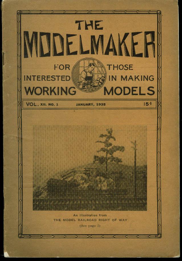 THE MODELMAKER 1 1935: outdoor track; NPRR O-gauge 4-8-4; PRR GG-1 +