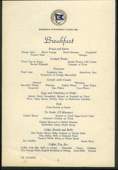 Eastern Steamship Lines S S Acadia Breakfast Menu Card 1940