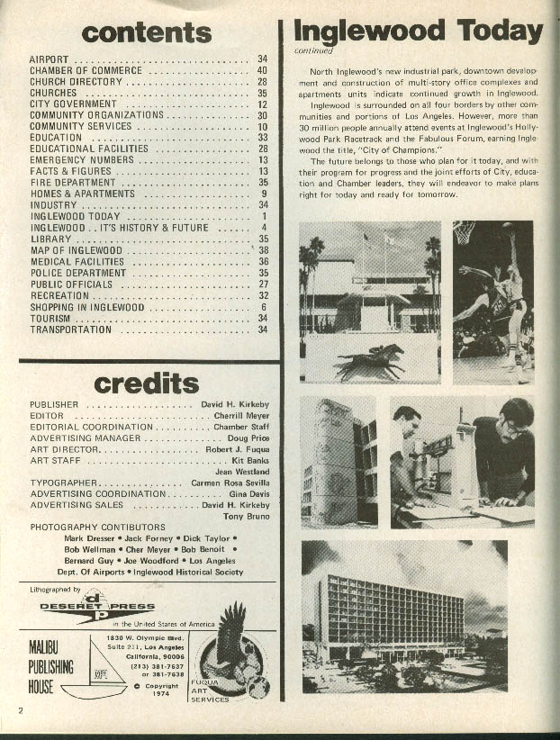Inglewood California Business Directory & Classified Pages 1973
