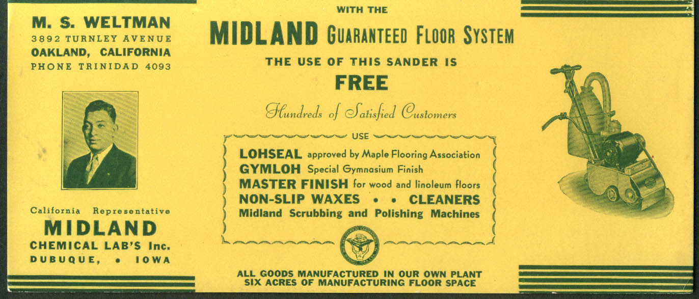 Midland Chemical Labs Guaranteed Flooring System & Sander blotter ca 1940s
