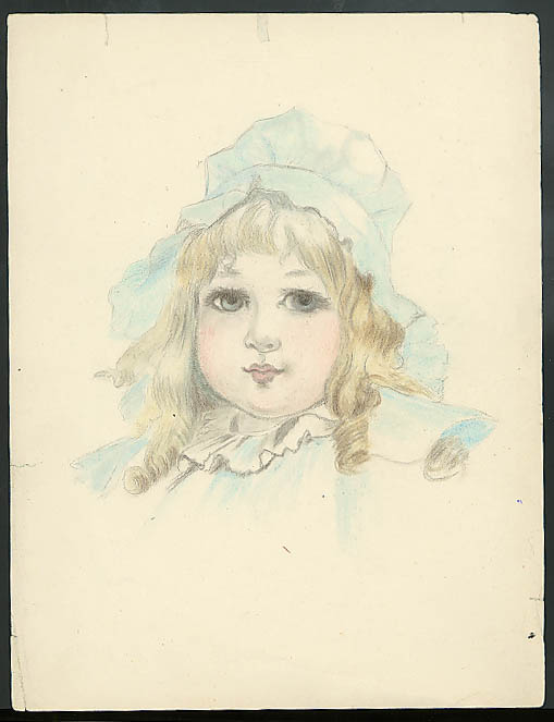 Florence Litchfield pastel & watercolor of little blonde girl in bonnet ca 1910