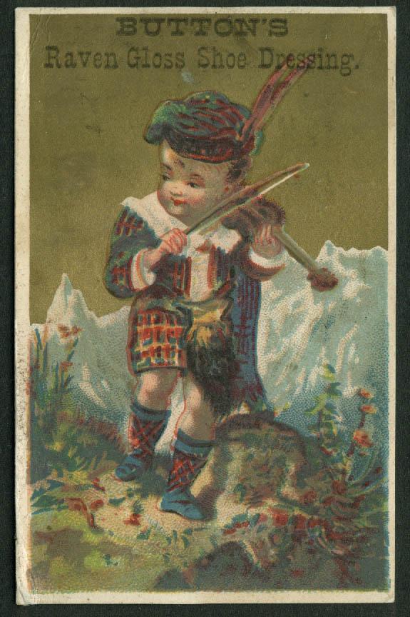 Button's Raven Gloss Shoe Dressing Meriden CT trade card 1880s Scots boy fiddler