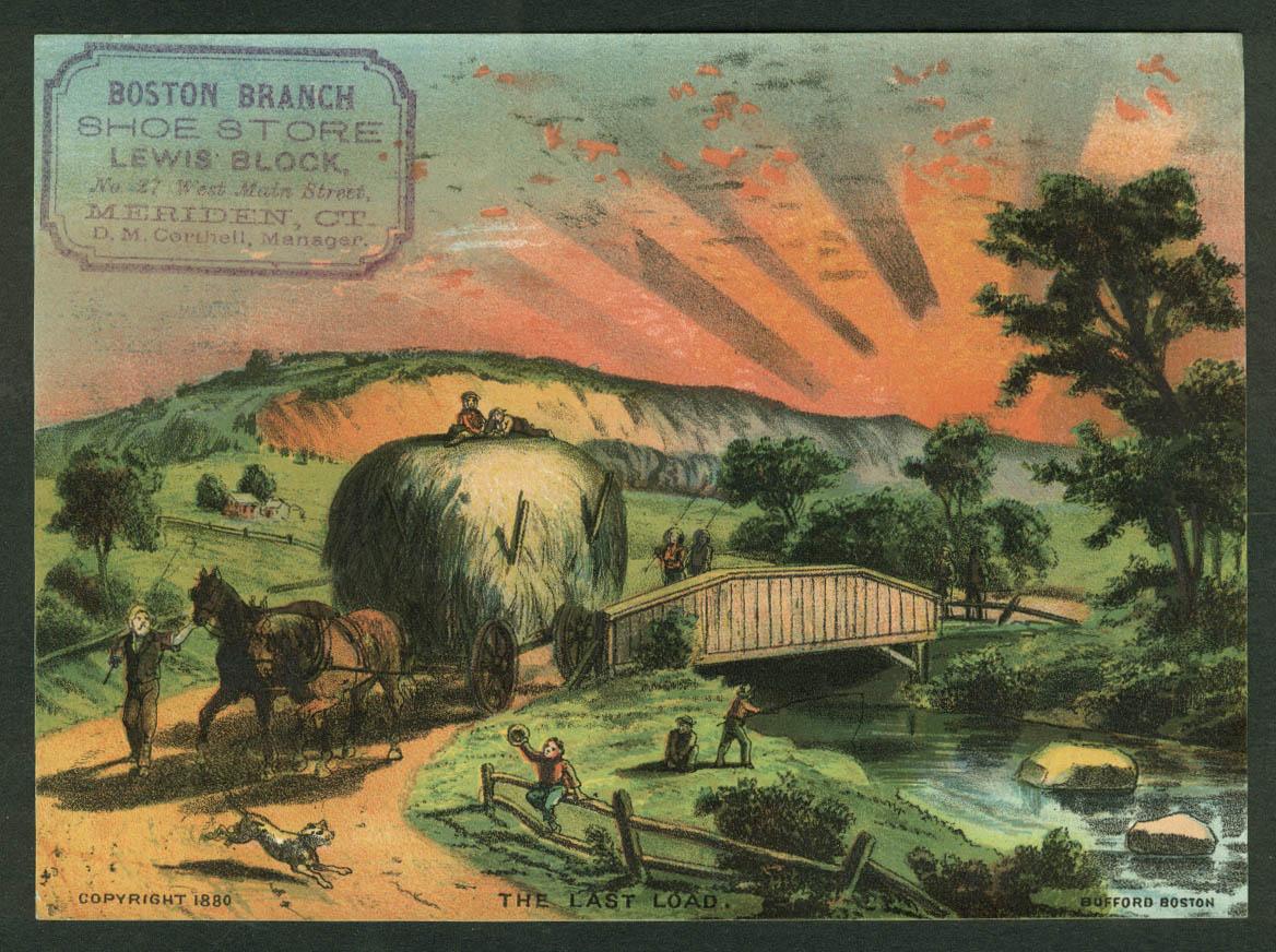 Boston Branch Shoe Store Meriden CT trade card 1880 Last Load of Hay