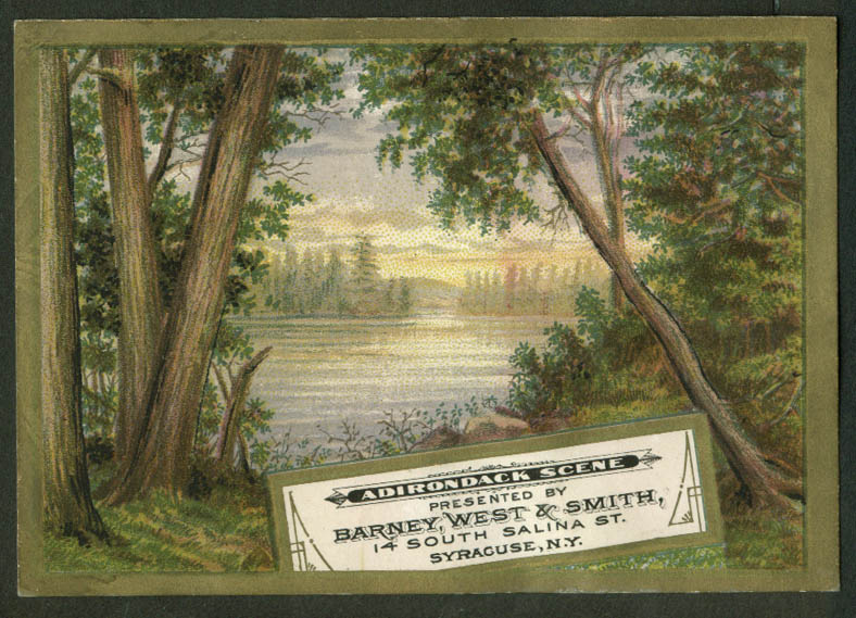 Barney West & Smith Dry Goods Syracuse NY trade card 1880s Adirondack Scene