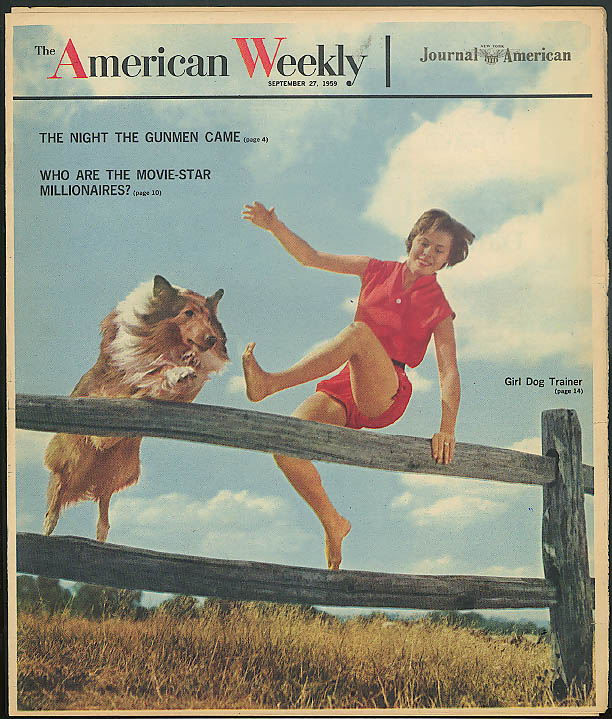Dog Trainer Beth Ann Streeter; movie millionaires AMERICAN WEEKLY 9/27 1959