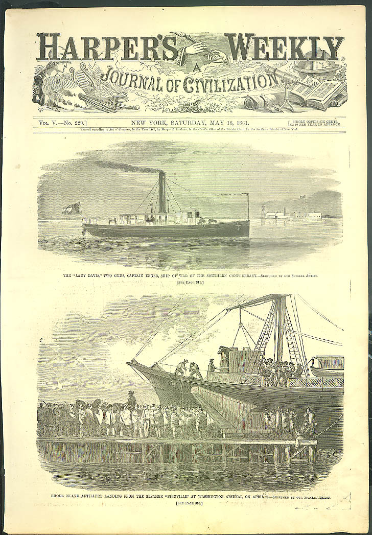 Image for Confederate ship Lady Davis / Rhode Island Artillery HARPER's WEEKLY 5/18 1861