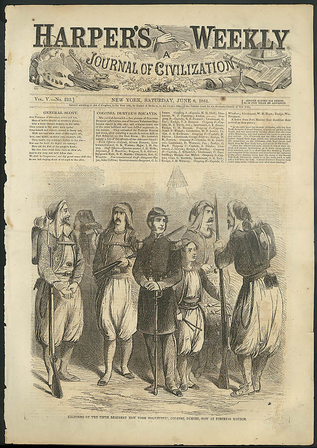 5th Regiment NY Volunteers under Col Duryee HARPER's WEEKLY cover 6/8 1861