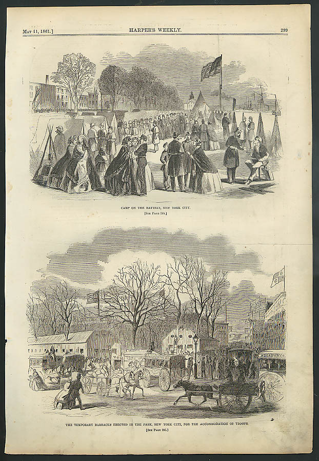 Battery Camp NYC Central Park Barracks / St Louis Fortified HARPER'S WEEKLY 1861