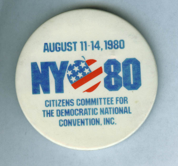 Citizens Committee Democratic National Convention New York City 1980 pinback