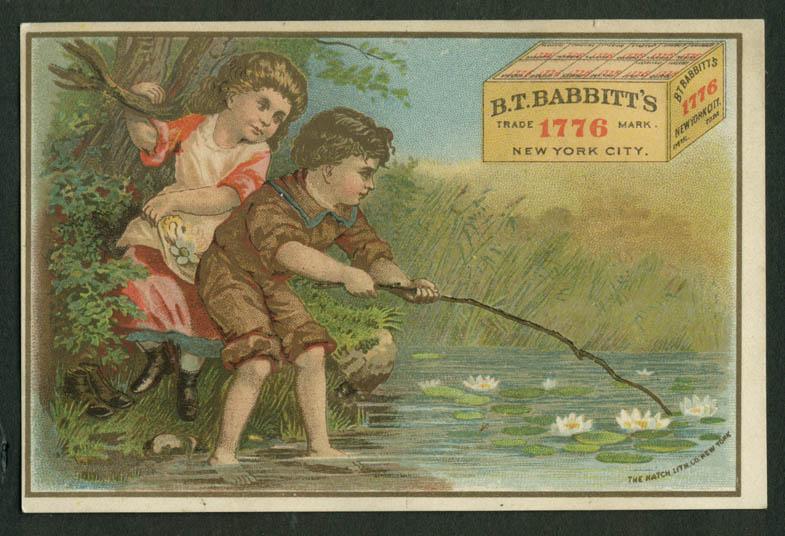 B T Babbitt's 1776 Laundry Powder trade card 1880s kids poking pond lilies