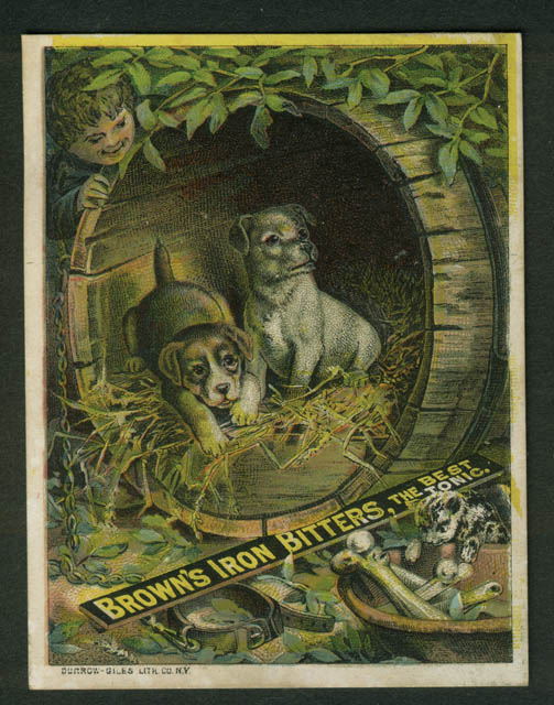 Brown's Iron Bitters Tonic Baltimore trade card 1880s puppies in old barrel