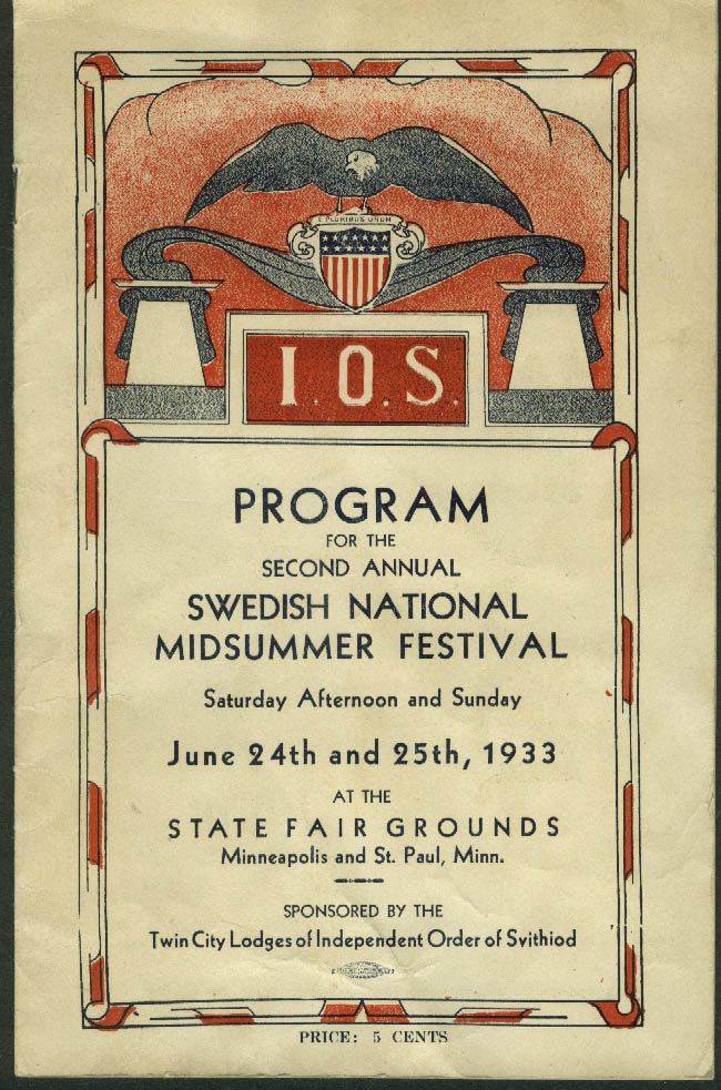Independent Order Svithiod Swedish Nat'l Summer Festival Program MN 1933