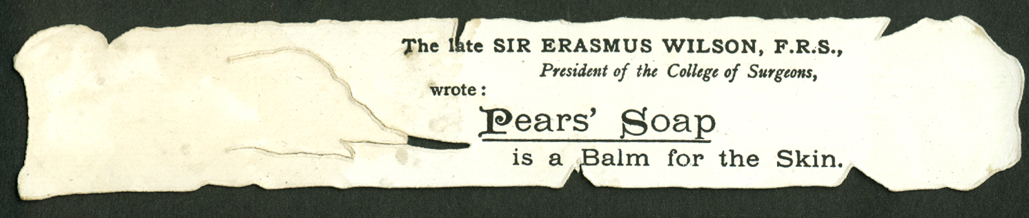 Pears' Soap quill pen & wax seal die-cut bookmark trade card 1880s