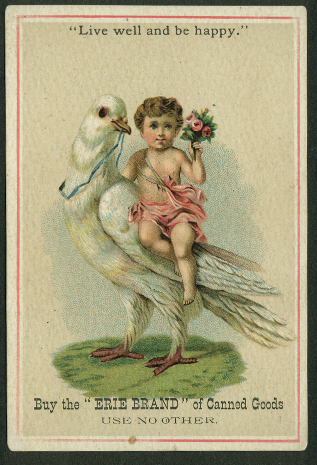 Erie Brand Canned Goods trade card 1880s cherub rides dove