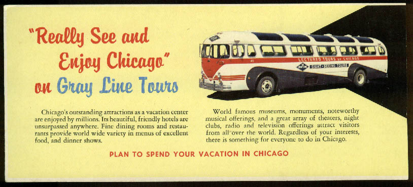 Gray Lines Bus Lectured Tours of Chicago card ca 1950s