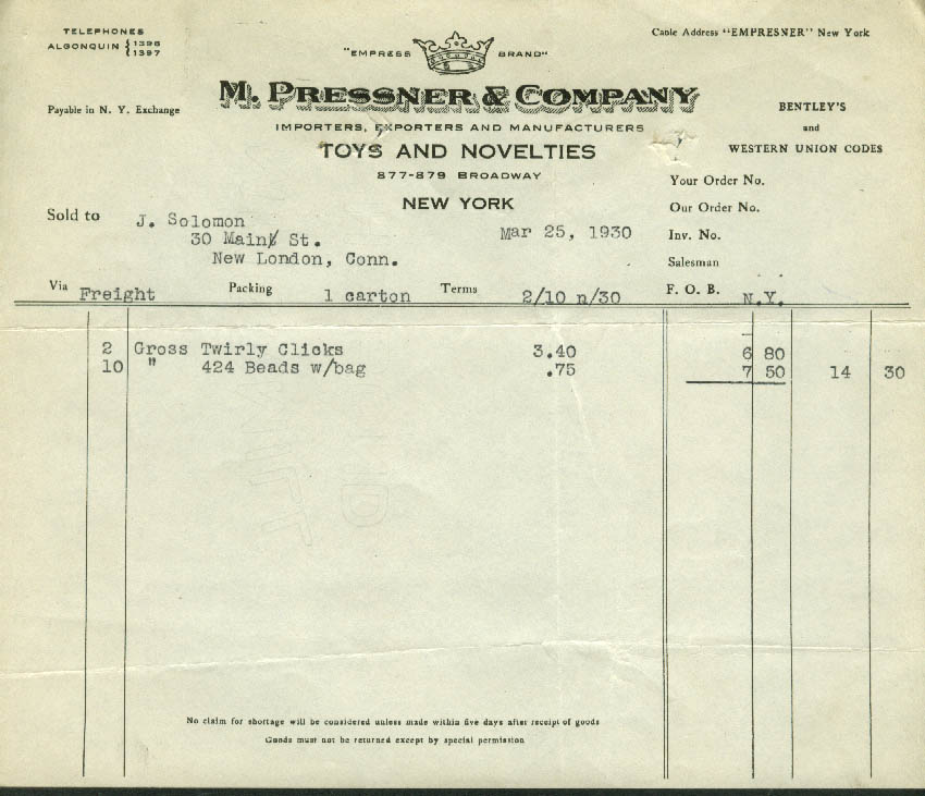 M Pressner Toys & Novelties NYC invoice 1930 Twirly Chicks, beads bag