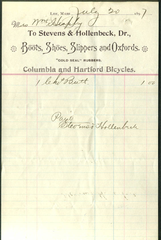 Stevens & Hollenbeck Columbia & Hartford Bicycles Lee MA invoice 1897