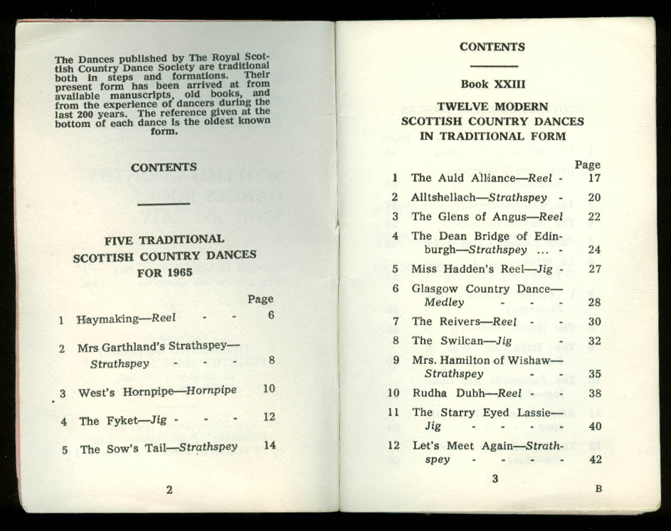 Five Traditional Scottish Country Dances for 1965 & Book XXIII XXIV