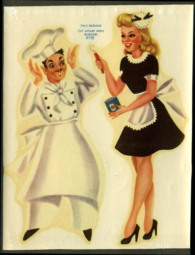Chef & leggy blonde waitress Meyercord Decal sheet 1945