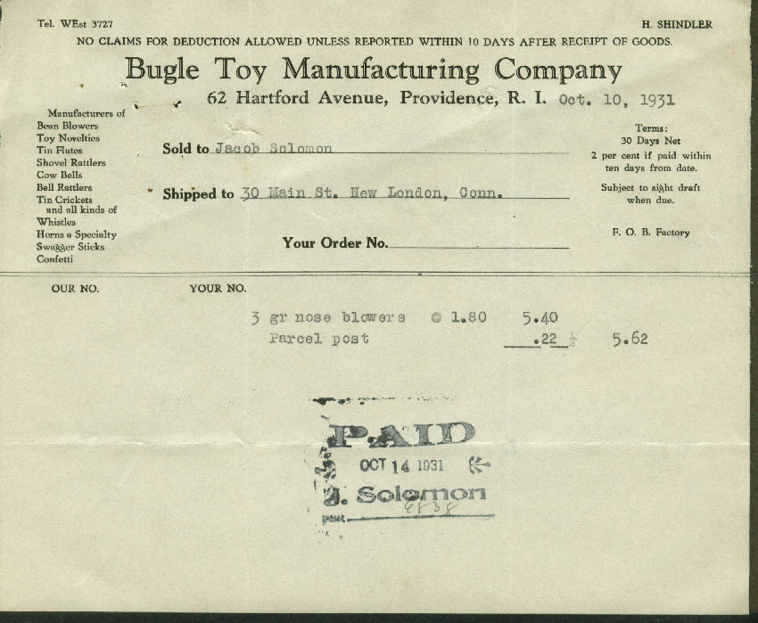 Bugle Toy Mfg Providence invoice 1931 3 gross nose blowers