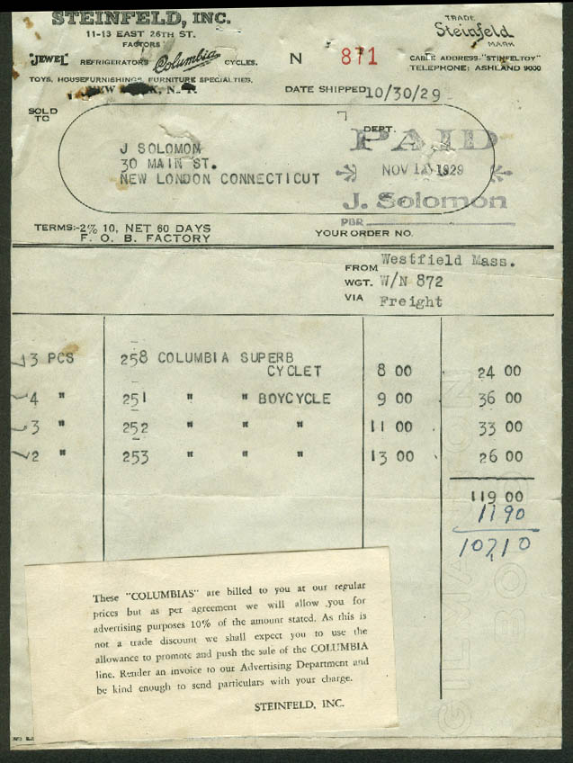 Steinfeld NYC invoice 1929 Columbia Superb Cyclet, Boycycle bicycle