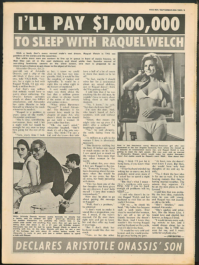 $1M for Raquel Welch; Italian brothel; Man kills nympho VICE ROI 9/20 1969
