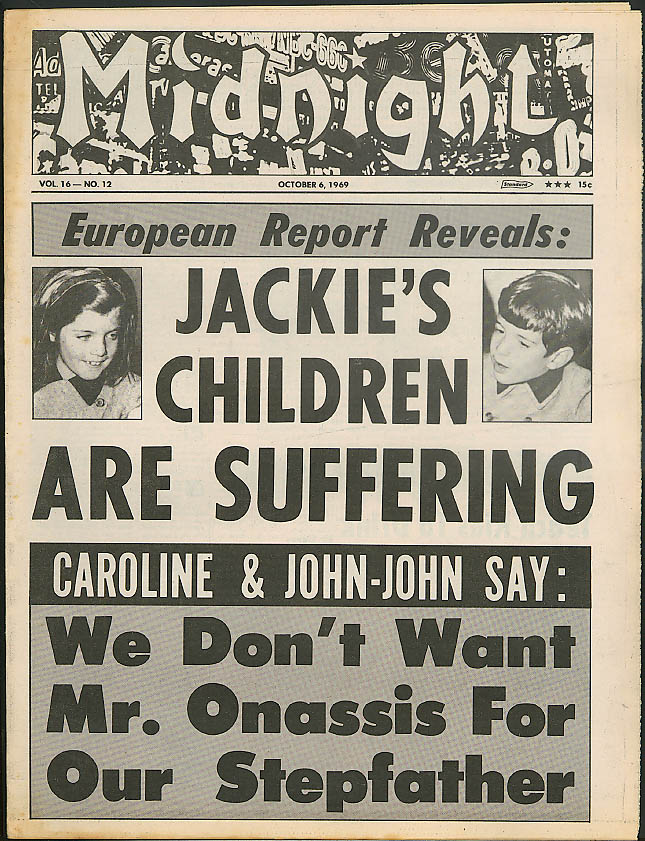 Jackie O's kids suffer; Romina Welles; Vanesssa Redgrave MIDNIGHT 10/6 1969