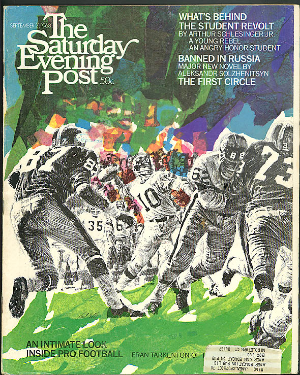 SATURDAY EVENING POST Eliot Asinof Football Aleksandr Solzhenitsyn 9/21 1968