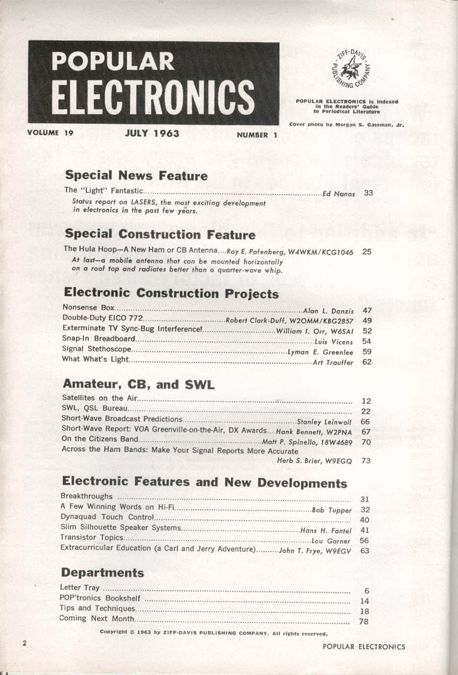 POPULAR ELECTRONICS Lasers Signal Stethoscope Hi-Fi Speakers RID AM TV 7 1963