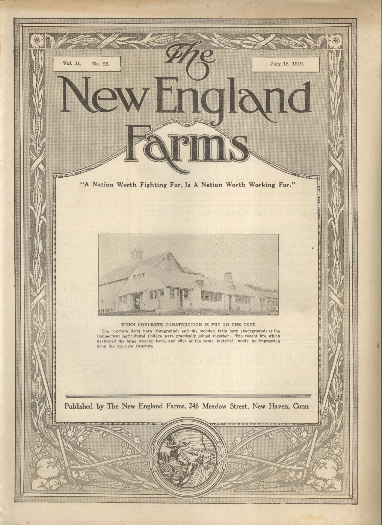 NEW ENGLAND FARMS Concrete Dairy Barn Connecticut Agricultural College 7/12 1919