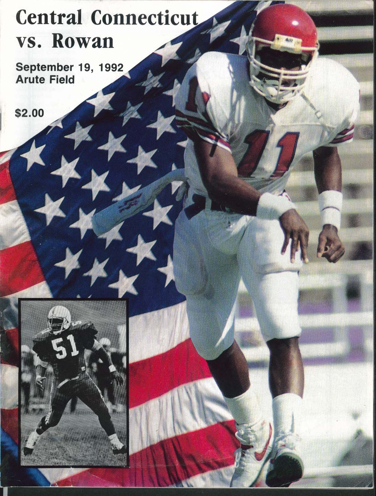 Image for Central Connecticut vs Rowan Arute Field Blue Devil Souveni Program 9/19 1992