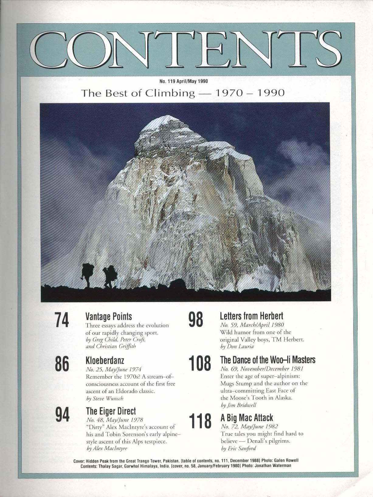 CLIMBING #119 Collector's Edition Kloeberdanz Eiger Layton Kor 4-5 1990