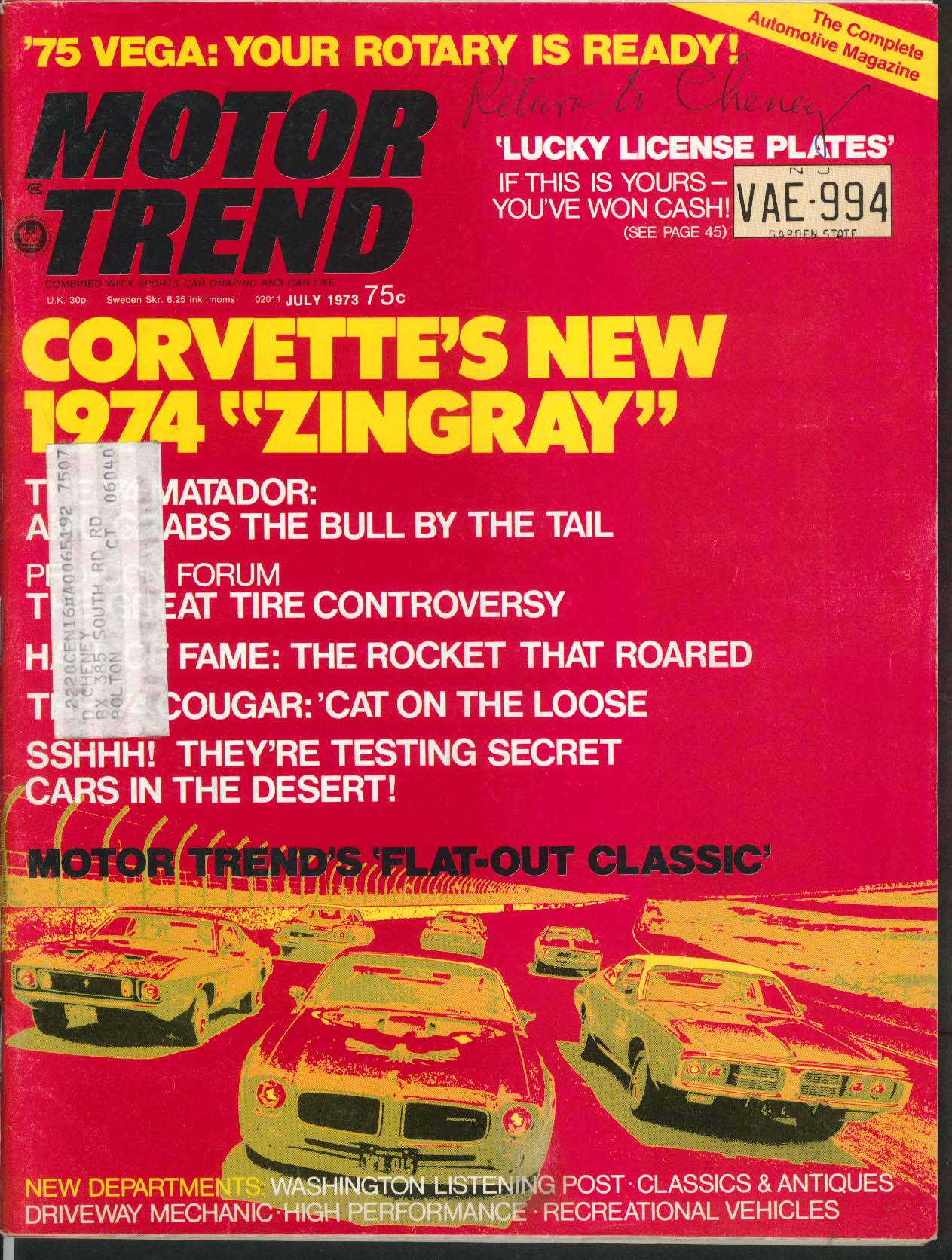 MOTOR TREND 1974 Corvette Matador Ford Cougar previews; Fiat 128 SL + 7 1973