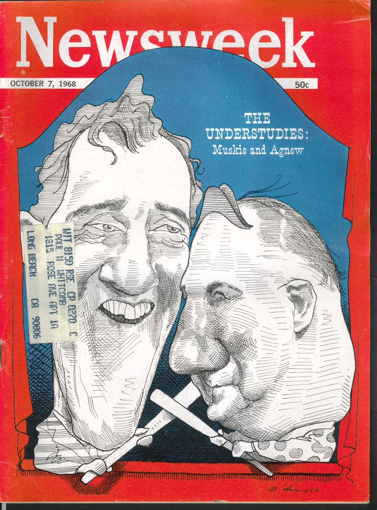 NEWSWEEK Muskie Agnew Hubert Humphrey Richard Nixon Vietnam Shropshire 10/7 1968