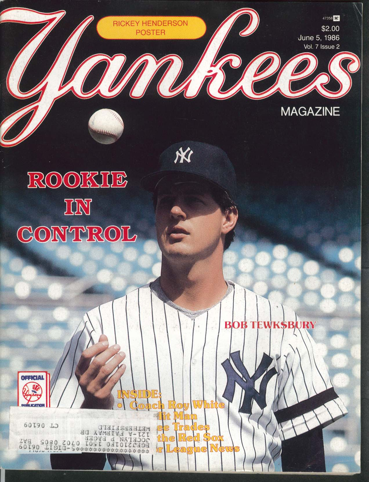 YANKEES Magazine Bob Tewksbury Roy White 6/5 1986