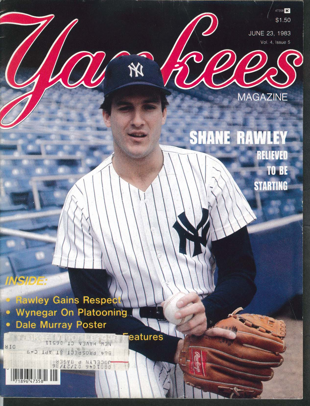 YANKEES Magazine Shane Rawley Dale Murray Wynegar 6/23 1983
