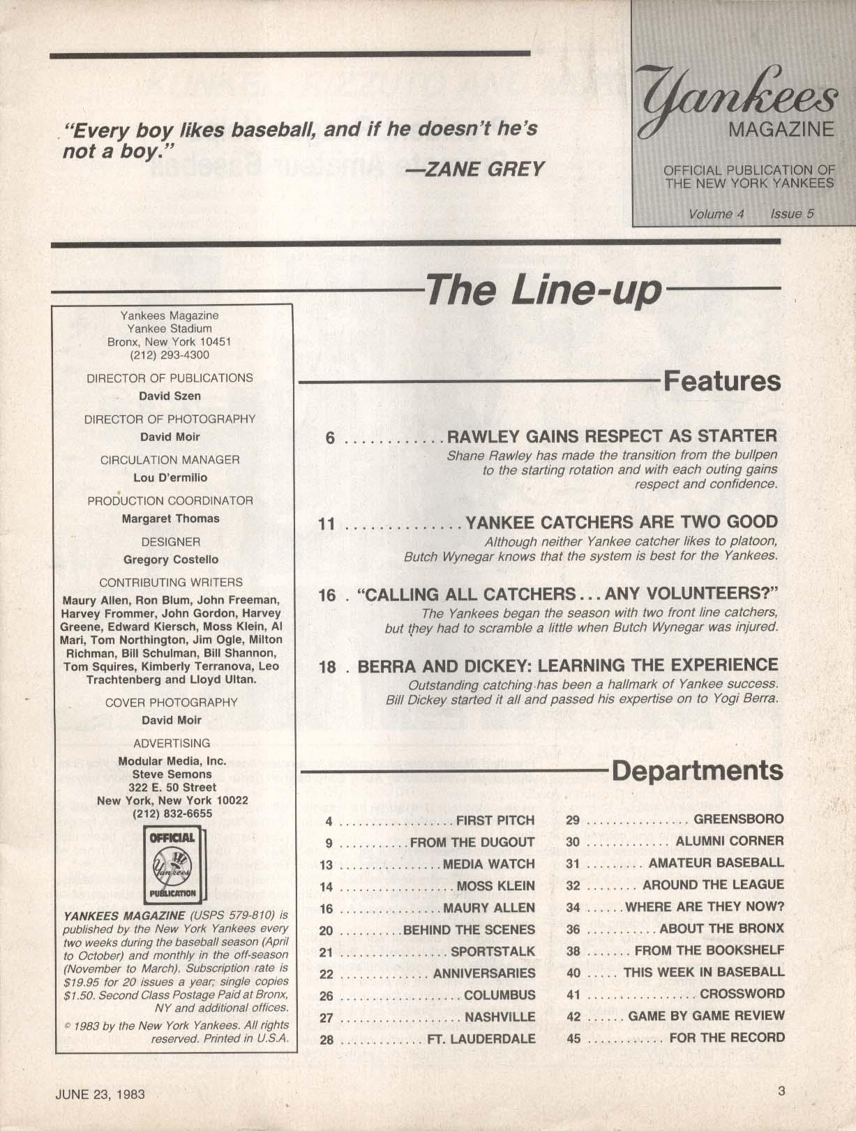YANKEES Magazine Shane Rawley Dale Murray Wynegar 6/23 1983