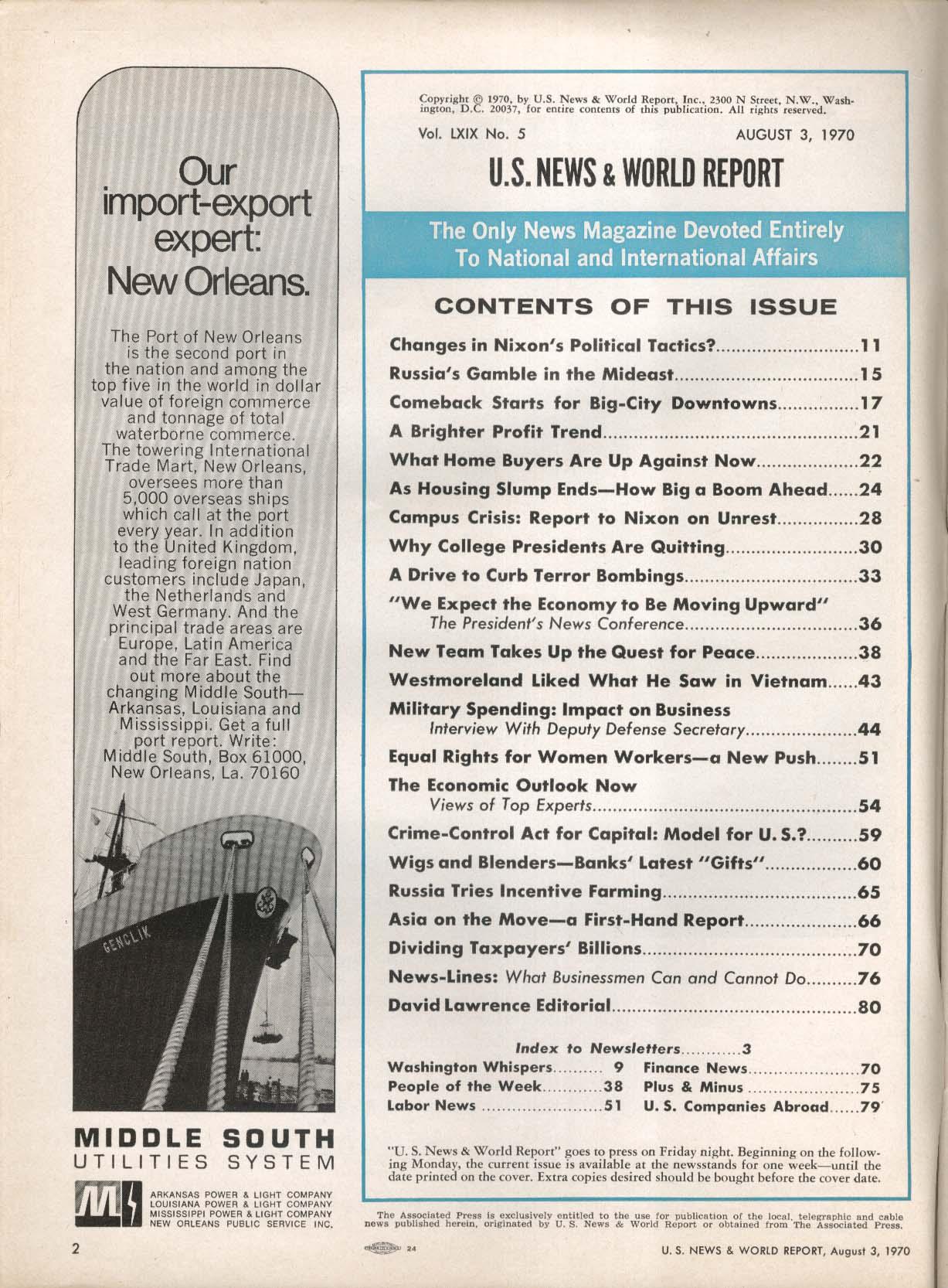 US NEWS & World Report Nixon Political Tactics Economic Outlook College 8/3 1970