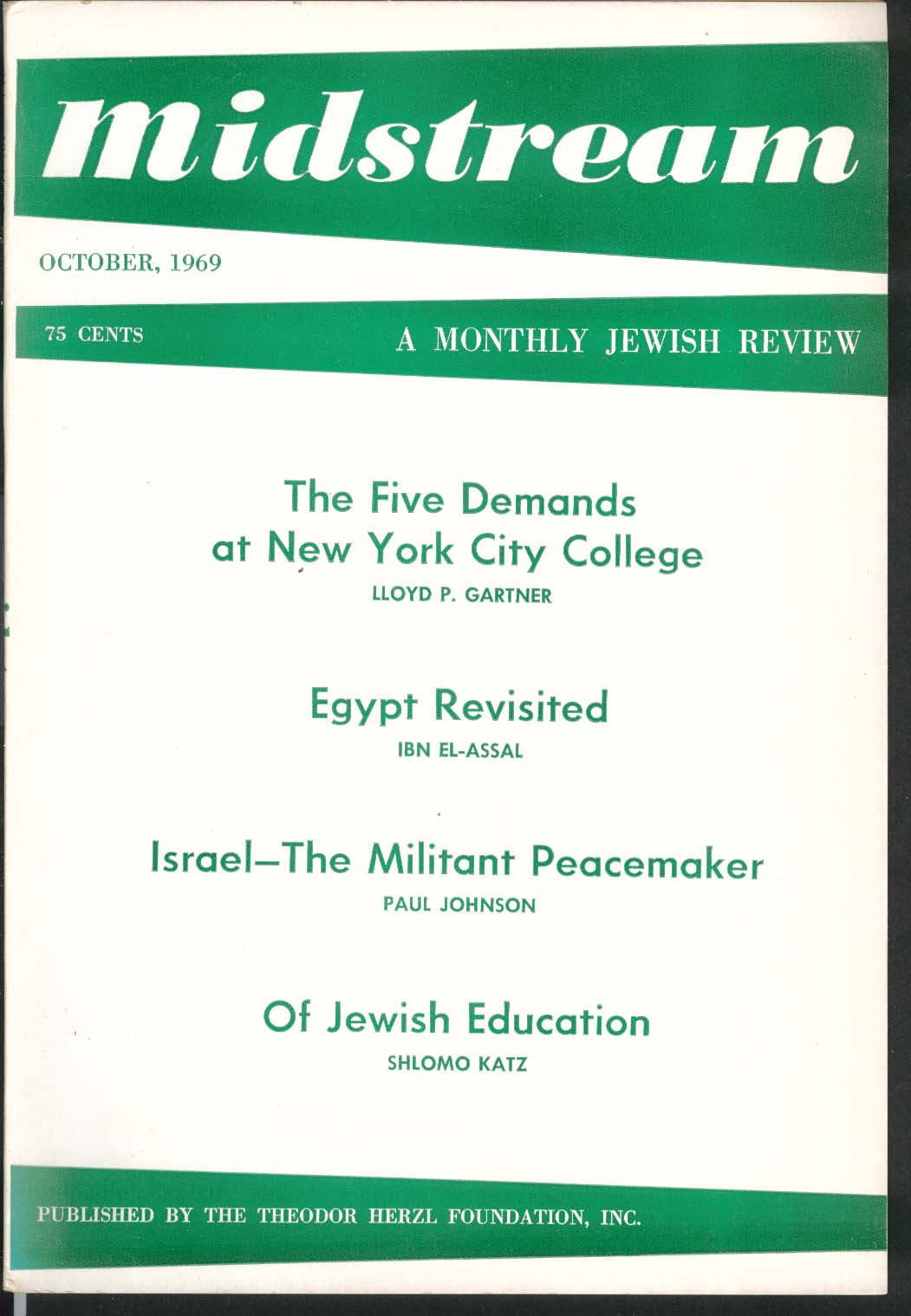 MIDSTREAM New York City College Egypt Israel Jewish Education 10 1969