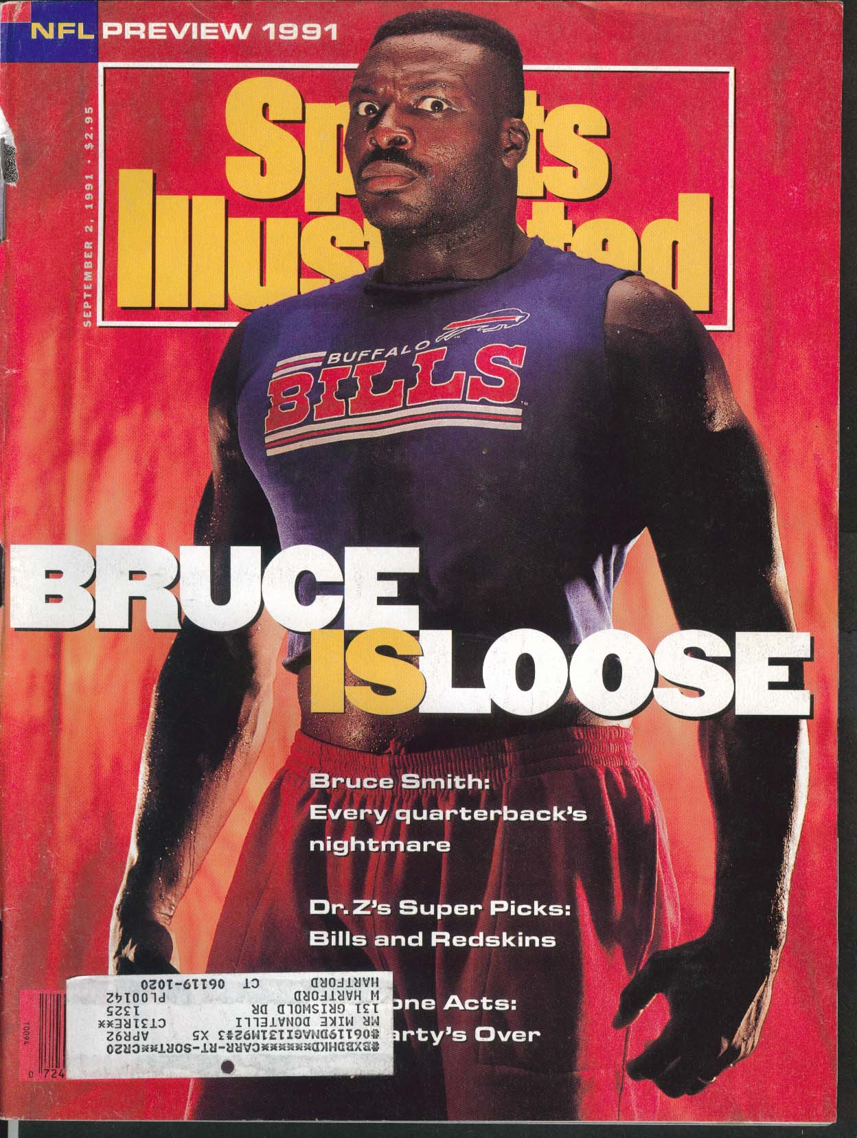 SPORTS ILLUSTRATED Bruce Smith Carl Lewis Sid Gillman Ron Wolfley 9/2 1991