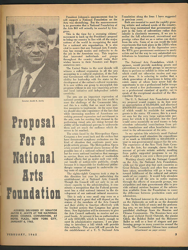 INTERNATIONAL MUSICIAN 2 1965: Jacob Javits; Music at Inaugural Balls; Zentner