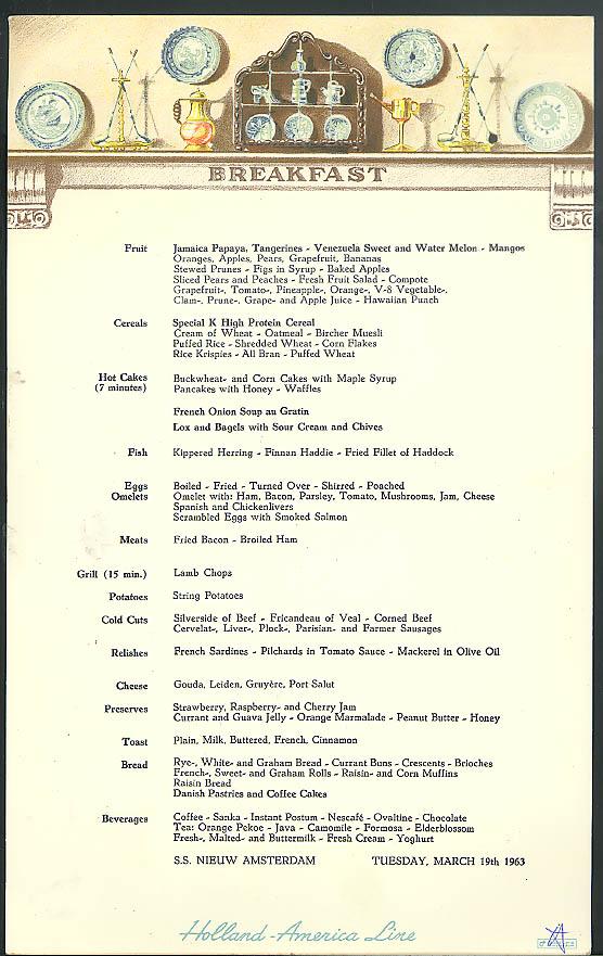 Holland america line s s nieuw amsterdam breakfast menu card 319 1963 publicscrutiny Image collections