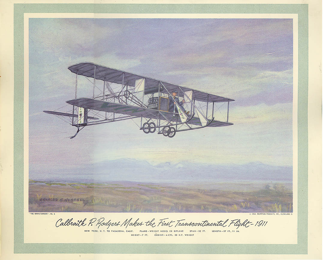 Rodgers 1st Transcontinental Flight Wright Biplane Hubbell calendar print 1954